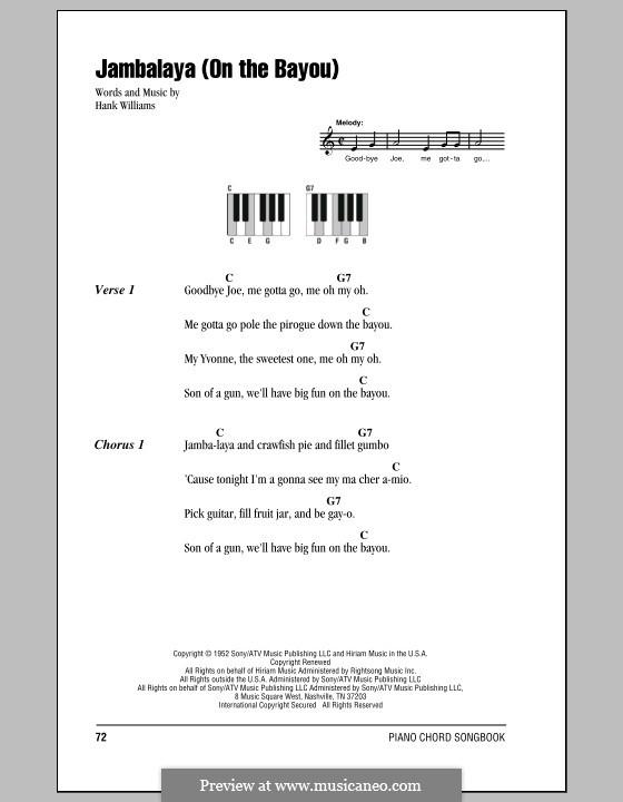 Jambalaya (On the Bayou): Text und Akkorde für Klavier by Hank Williams