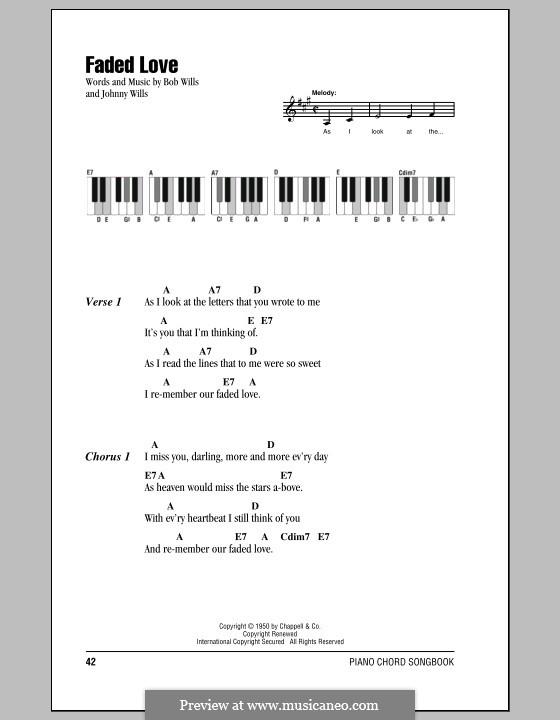 Faded Love (Bob Wills): Text und Akkorde für Klavier by Johnny Wills