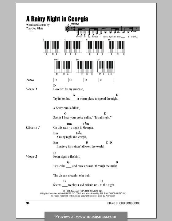 A Rainy Night in Georgia: Text und Akkorde für Klavier by Tony Joe White