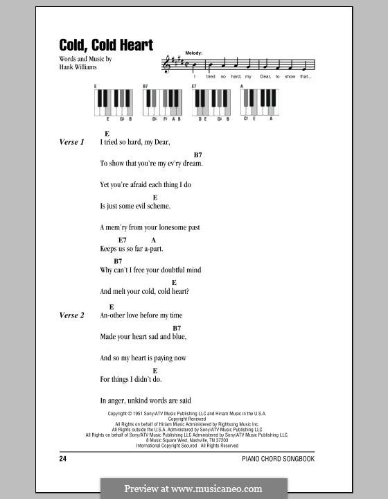 Cold, Cold Heart: Text und Akkorde für Klavier by Hank Williams