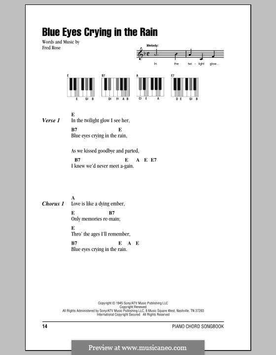 Blue Eyes Crying in the Rain (Willie Nelson): Text und Akkorde für Klavier by Fred Rose