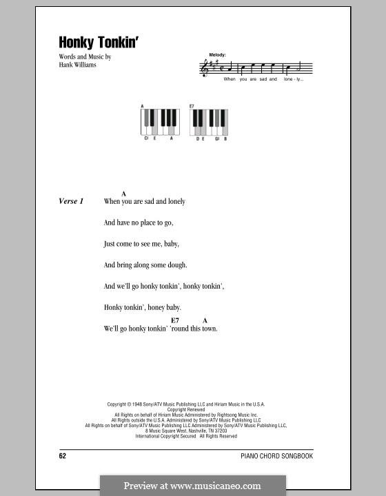 Honky Tonkin': Text und Akkorde für Klavier by Hank Williams