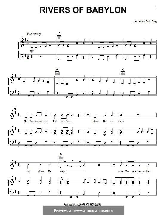 Rivers of Babylon: Für Stimme und Klavier (oder Gitarre) by folklore