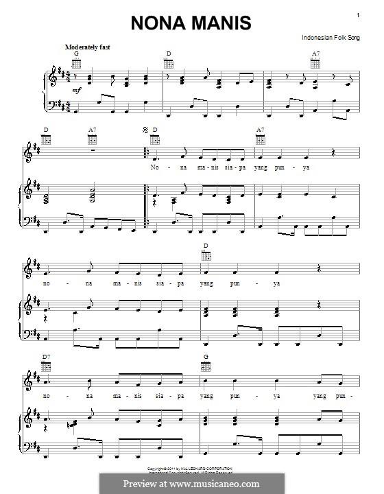 Nona Manis: Für Stimme und Klavier (oder Gitarre) by folklore