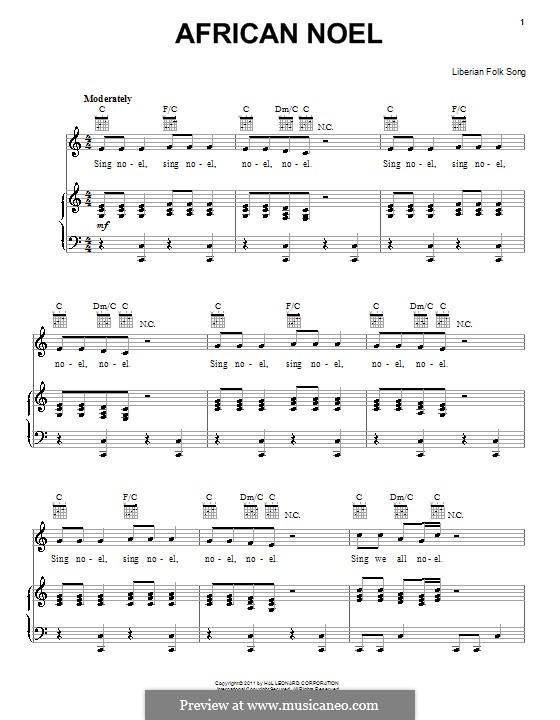 African Noel: Für Stimme und Klavier (oder Gitarre) by folklore