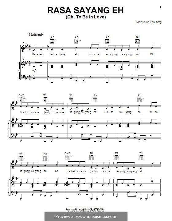 Rasa sayang eh: Für Stimme und Klavier (oder Gitarre) by folklore