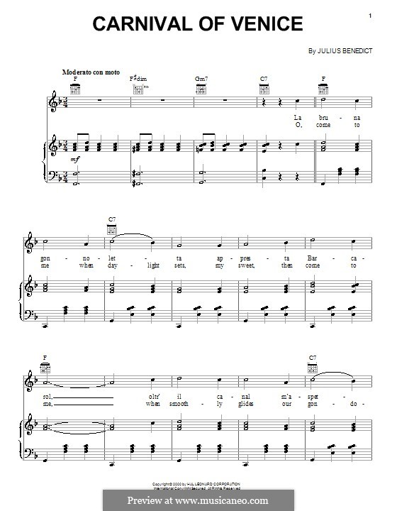 Carnival of Venice: Für Stimme und Klavier (oder Gitarre) by Julius Benedict