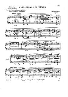 Variations Serieuses, Op.54: For piano (with fingersatz) by Felix Mendelssohn-Bartholdy