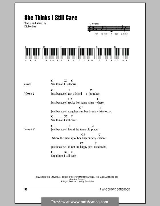 She Thinks I Still Care (George Jones): Text und Akkorde für Klavier by Dickey Lee