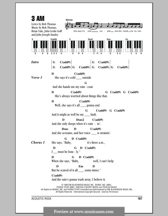 3 AM (Matchbox Twenty): Text und Akkorde für Klavier by Brian Yale, Jay Stanley, John Goff, Rob Thomas