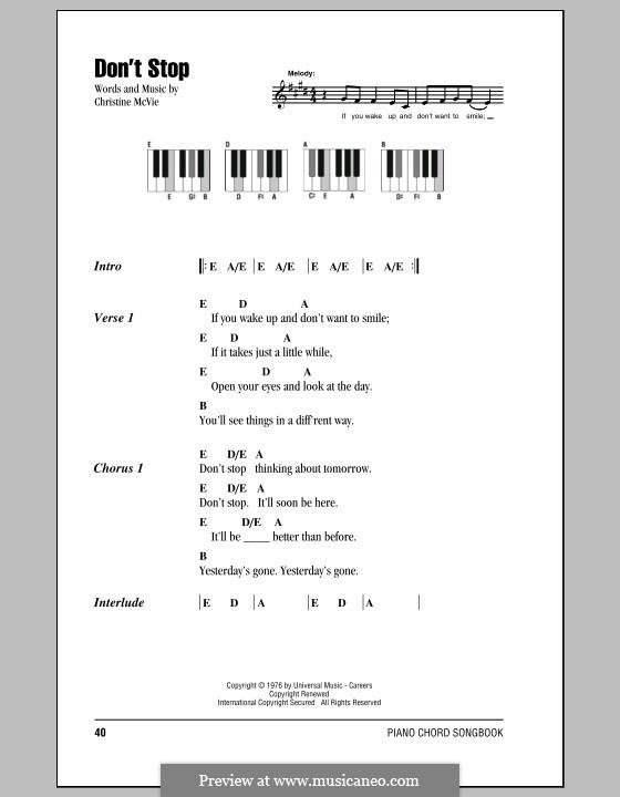 Don't Stop (Fleetwood Mac): Text und Akkorde für Klavier by Christine McVie