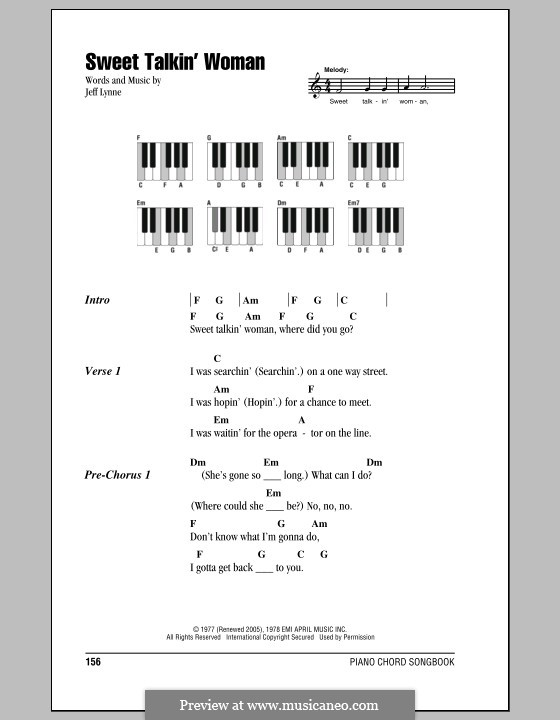 Sweet Talkin' Woman (Electric Light Orchestra): Text und Akkorde für Klavier by Jeff Lynne