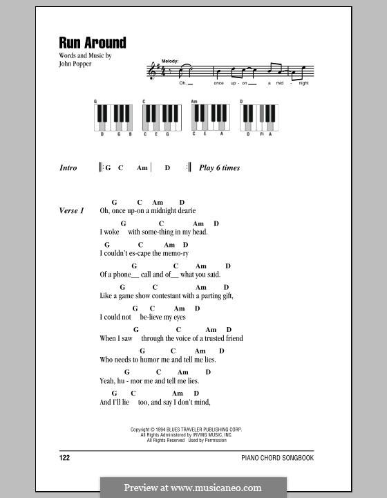 Run Around (Blues Traveler): Text und Akkorde für Klavier by John Popper