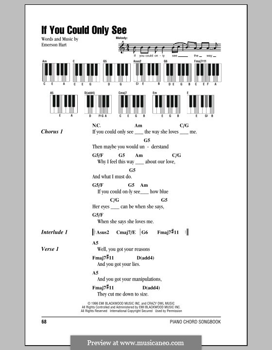 If You Could Only See (Tonic): Text und Akkorde für Klavier by Emerson Hart
