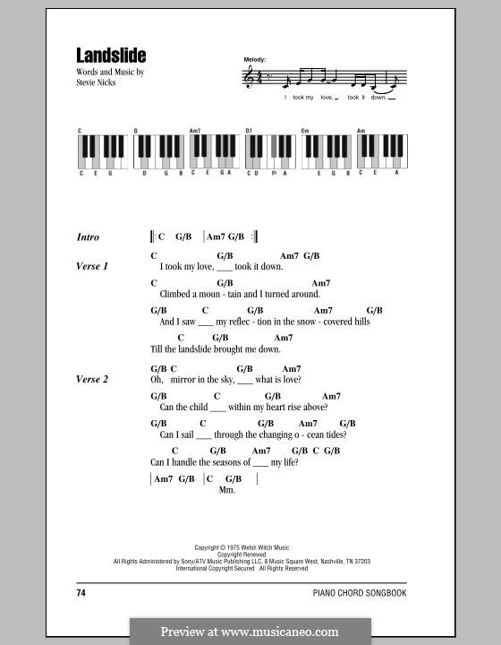 Landslide (Fleetwood Mac): Text und Akkorde für Klavier by Stevie Nicks