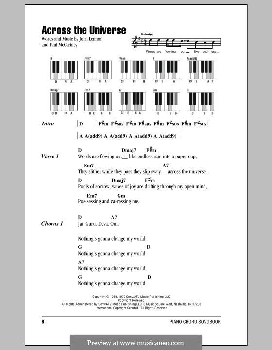 Across the Universe (The Beatles): Text und Akkorde für Klavier by John Lennon, Paul McCartney