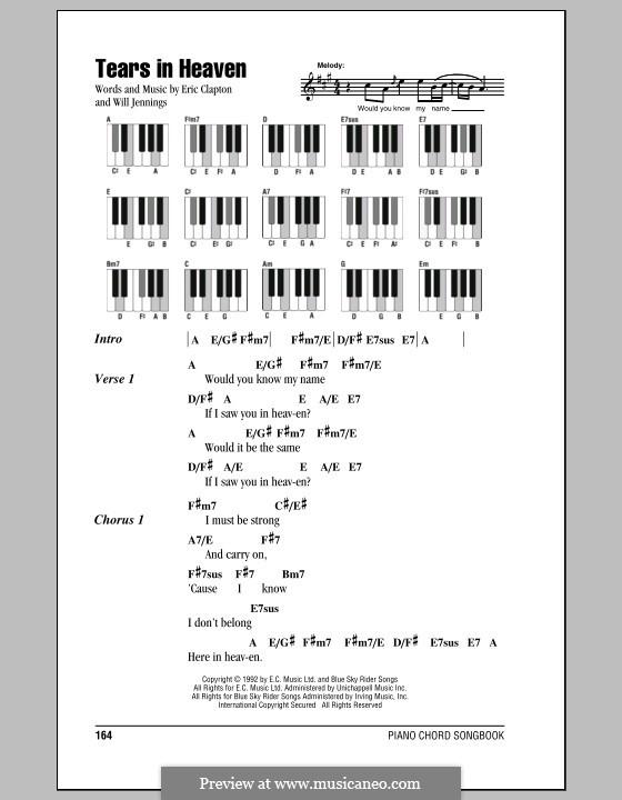 Tears in Heaven: Text und Akkorde für Klavier by Eric Clapton, Will Jennings