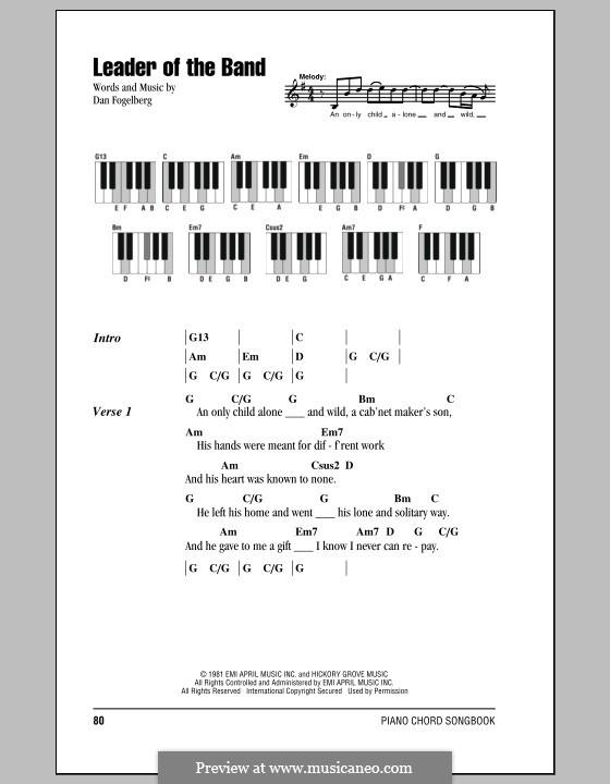 Leader of the Band: Text und Akkorde für Klavier by Dan Fogelberg