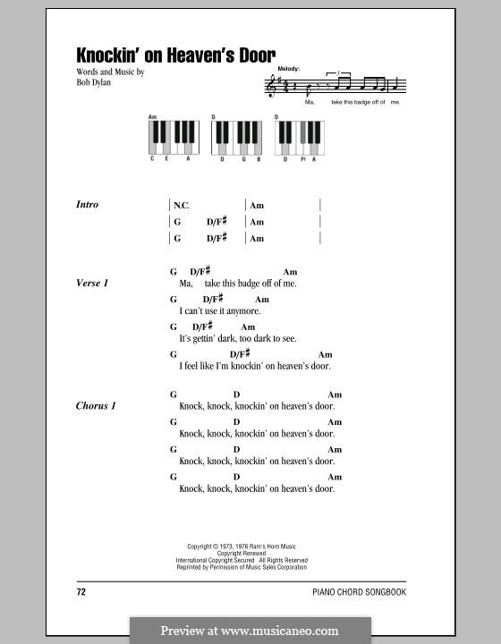 Knockin' on Heaven's Door: Text und Akkorde für Klavier by Bob Dylan