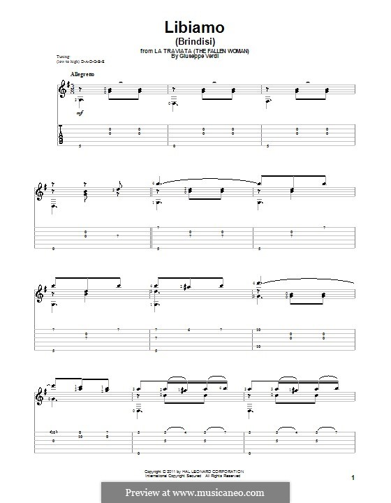Libiamo ne'lieti calici (Brindisi): Für Gitarre by Giuseppe Verdi