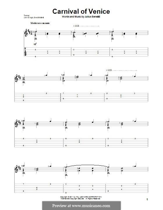 Carnival of Venice: Für Gitarre by Julius Benedict