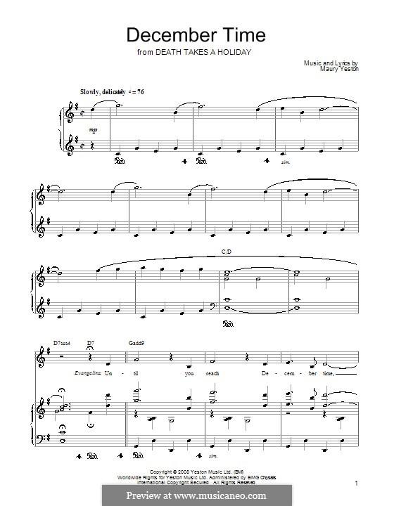 December Time: Für Stimme und Klavier (oder Gitarre) by Maury Yeston