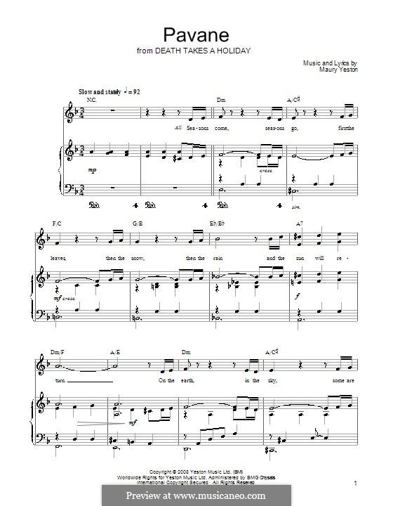 Pavane: Für Stimme und Klavier (oder Gitarre) by Maury Yeston