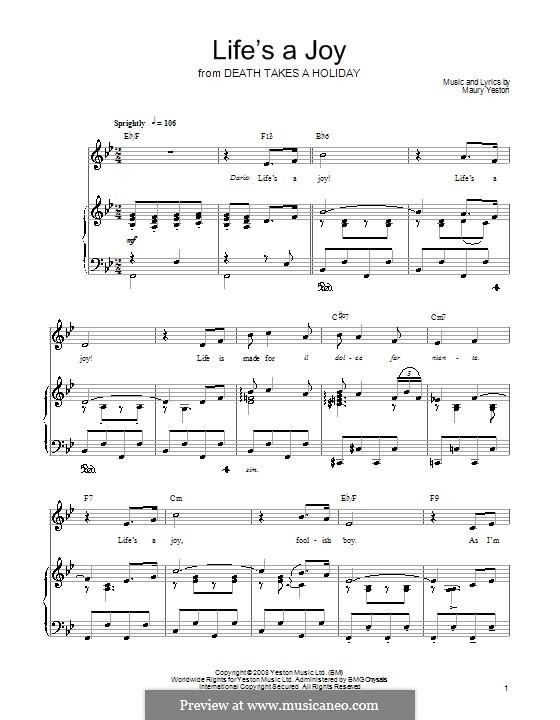 Life's a Joy: Für Stimme und Klavier (oder Gitarre) by Maury Yeston