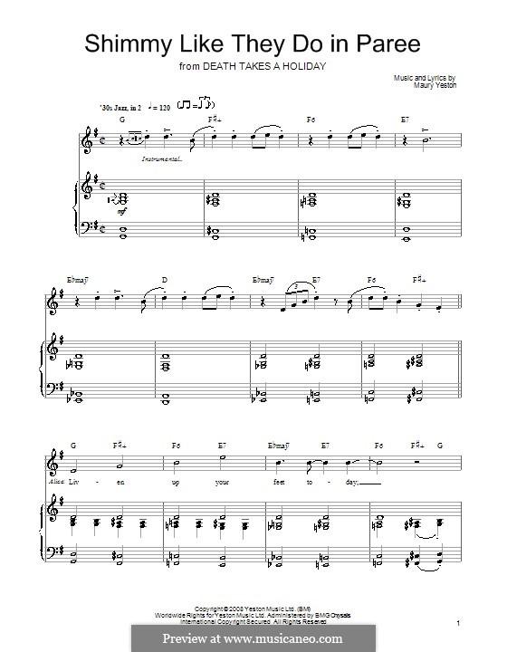 Shimmy Like They Do in Paree: Für Stimme und Klavier (oder Gitarre) by Maury Yeston