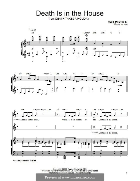 Death Is in the House: Für Stimme und Klavier (oder Gitarre) by Maury Yeston