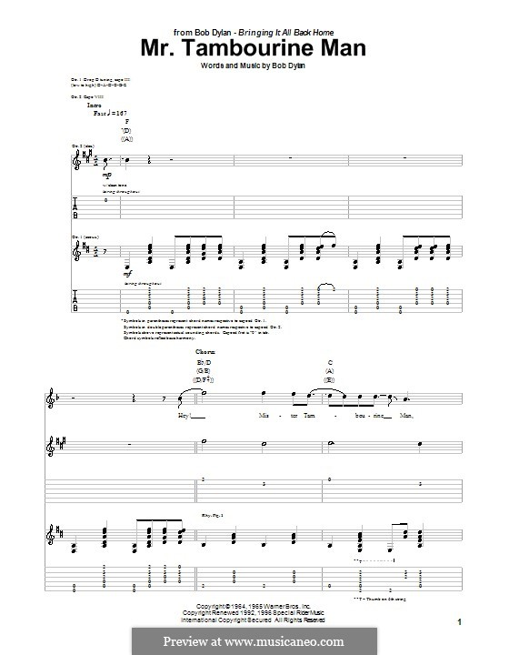 Mr. Tambourine Man: For guitar with tab by Bob Dylan