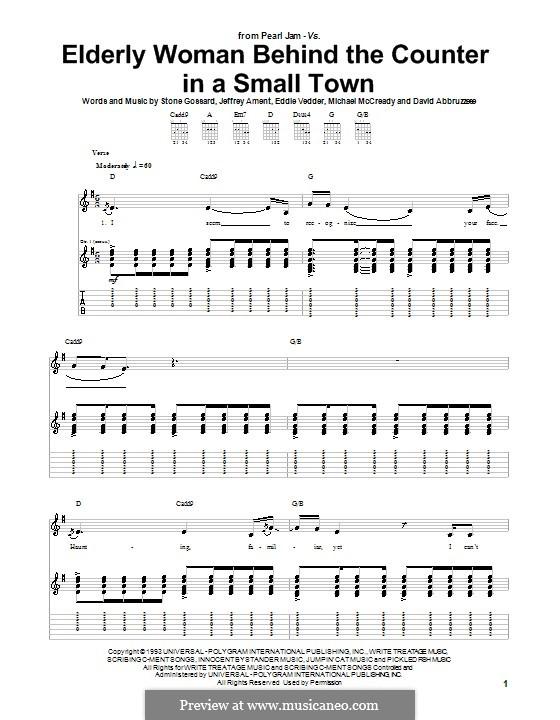 Elderly Woman Behind the Counter in a Small Town (Pearl Jam): Für Gitarre mit Tab by David Abbruzzese, Eddie Vedder, Jeff Ament, Mike McCready, Stone Gossard