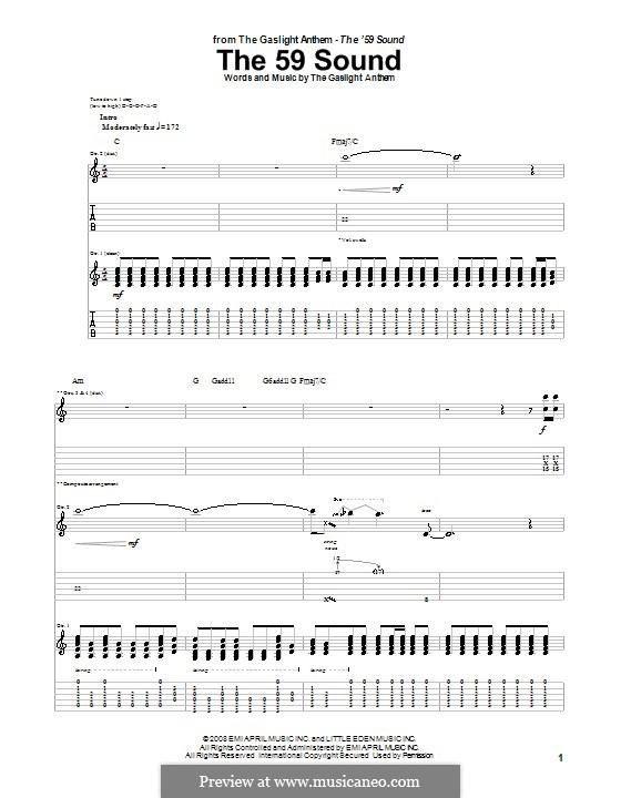 The 59 Sound: Für Gitarre mit Tab by The Gaslight Anthem