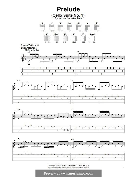 Suite für Cello Nr.1 in G-Dur, BWV 1007: Präludium. Version für Gitarre by Johann Sebastian Bach