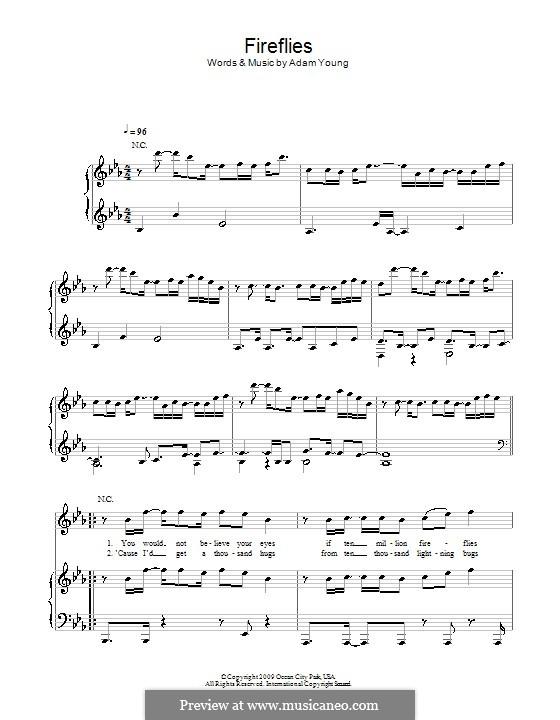 Fireflies (Owl City): Für Stimme und Klavier (oder Gitarre) by Adam Young