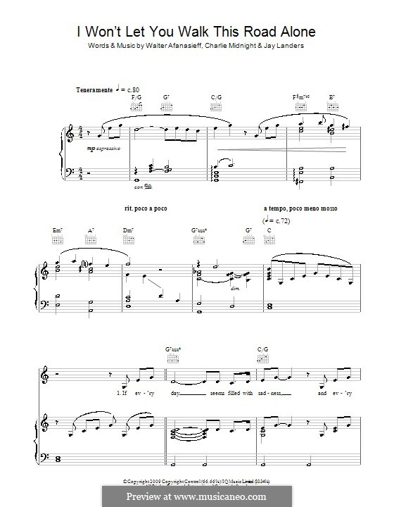 I Won't Let You Walk This Road Alone (Rhydian): Für Stimme und Klavier (oder Gitarre) by Charlie Midnight, Jay Landers, Walter Afanasieff