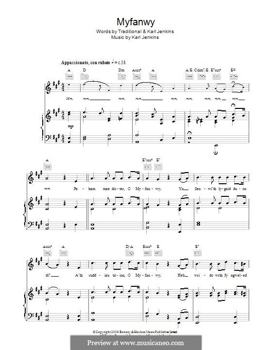 Myfanwy (Rhydian): Für Stimme und Klavier (oder Gitarre) by Karl Jenkins