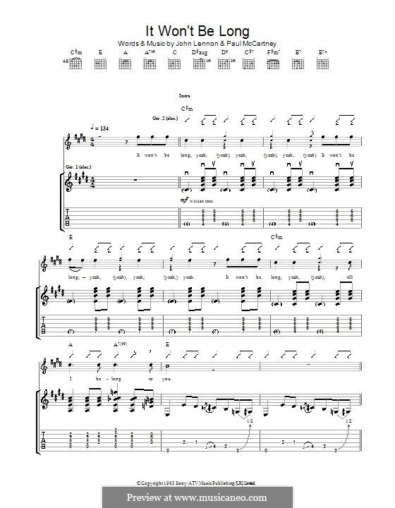 It Won't Be Long (The Beatles): Für Gitarre by John Lennon, Paul McCartney