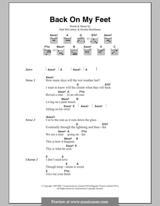 Back on My Feet: Text und Akkorde by Declan Macmanus, Paul McCartney