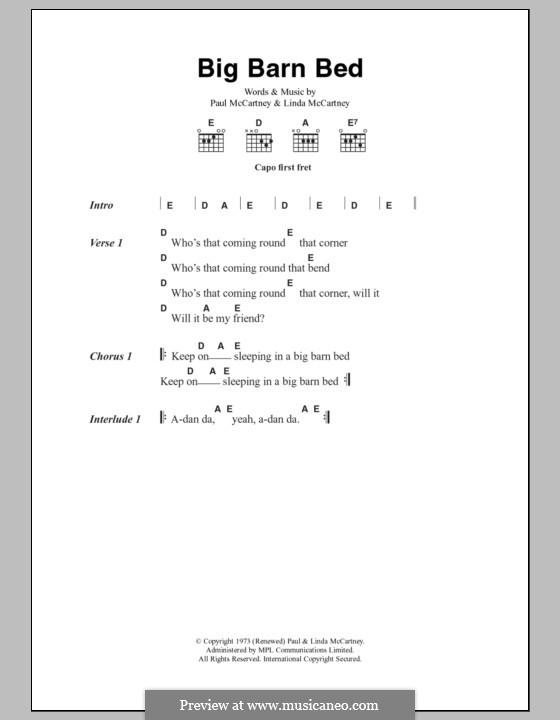 Big Barn Bed: Text und Akkorde by Linda McCartney, Paul McCartney