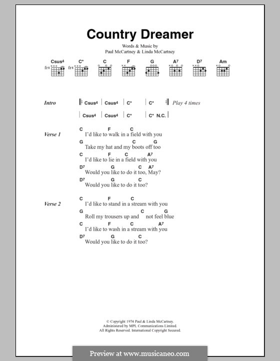 Country Dreamer: Text und Akkorde by Linda McCartney, Paul McCartney