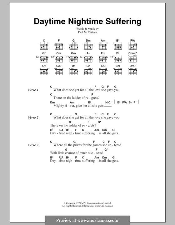 Daytime Nightime Suffering: Text und Akkorde by Paul McCartney