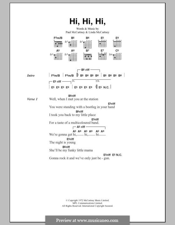 Hi Hi Hi (Wings): Text und Akkorde by Linda McCartney, Paul McCartney