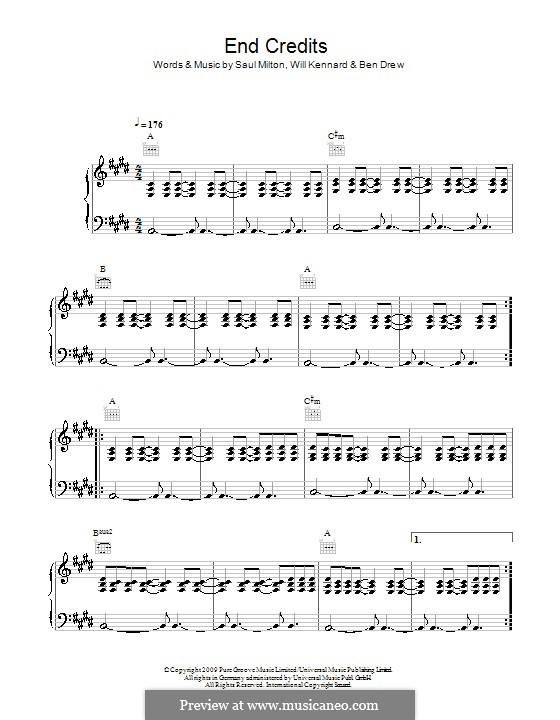 End Credits (Chase & Status feat. Plan B): Für Stimme und Klavier (oder Gitarre) by Benjamin Drew, Saul Milton, Will Kennard