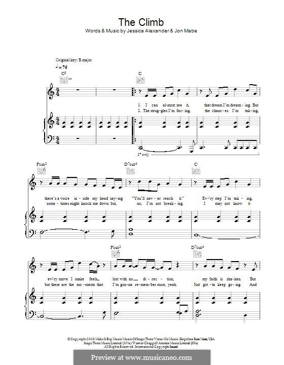 The Climb: Für Stimme und Klavier (oder Gitarre) by Jessi Alexander, Jon Mabe