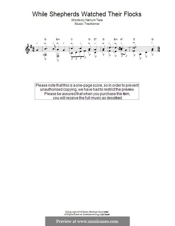 While Shepherds Watched Their Flocks: Für Gitarre mit Tabulatur by folklore
