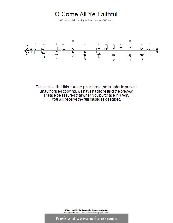 O Come, All Ye Faithful (Printable Scores): Für Gitarre by John Francis Wade