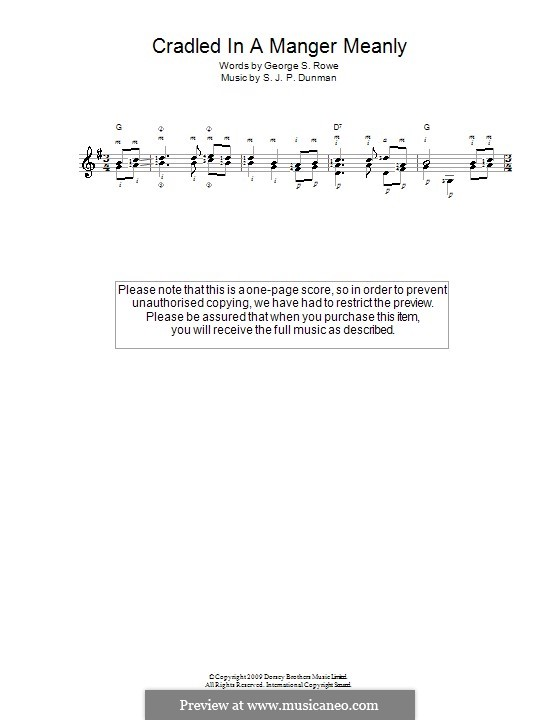 Cradled in a Manger, Meanly: Für Gitarre by S. J. P. Dunman
