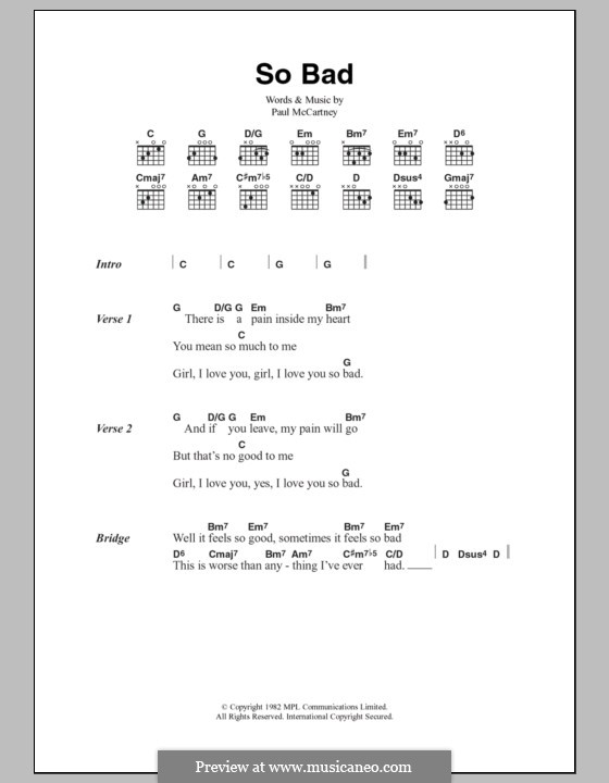 So Bad: Text und Akkorde by Paul McCartney