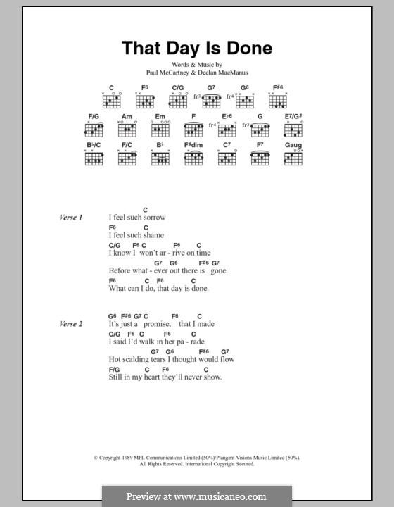 That Day Is Done: Text und Akkorde by Declan Macmanus, Elvis Costello, Paul McCartney